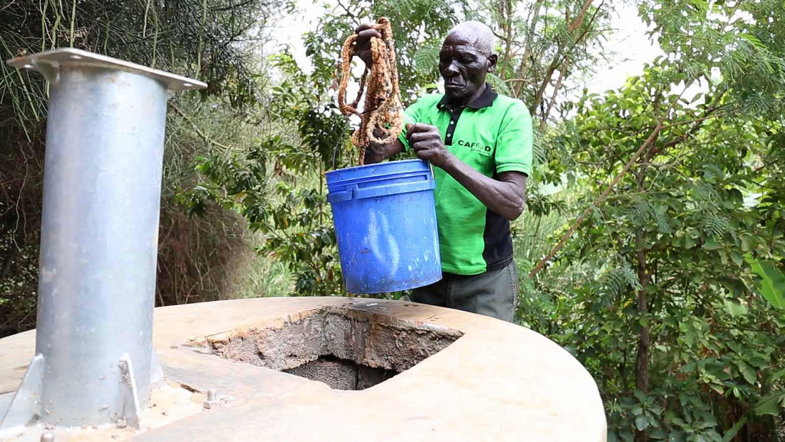 A Kitui resident uses the well.