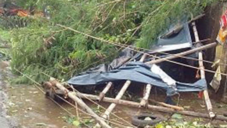 Damage from Cyclone Phailin, which struck the east of India