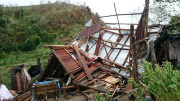 Houses damaged during Typhoon Mangkhut.