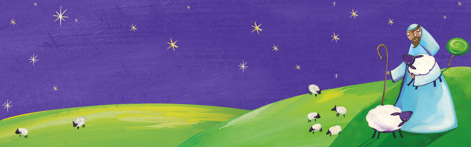 Illustration of a sheppard watching his flock of sheep - part of CAFOD World Gifts