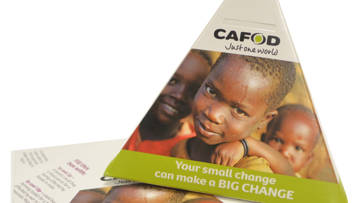 CAFOD collection box for Lent and Harvest fundraising