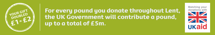 Your gift will be doubled by the UK government so that £1 equals £2