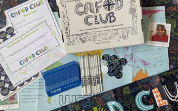 Order a CAFOD clubs box with a map, banner, pencils, rulers, a certificate and prayer.