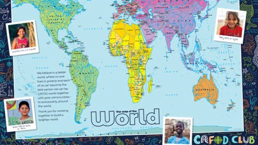 CAFOD clubs world map for children