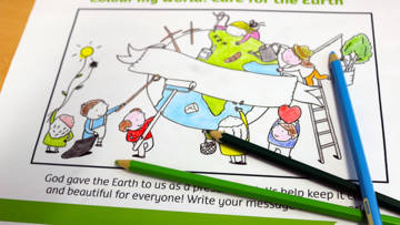colouring sheet be kind to the earth