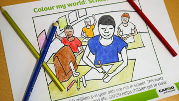 colouring sheets going to school
