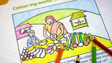 Kidz Zone colouring in CAFOD activity sheets