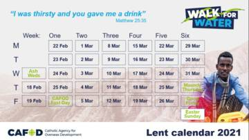 Lent 21 calendar for young people