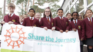 Children doing Share the Journey walk with CAFOD