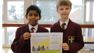 Children with Share the Journey certificate