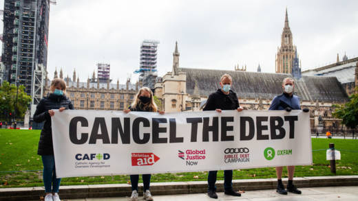 Cancel the debt campaigners outside parliamant