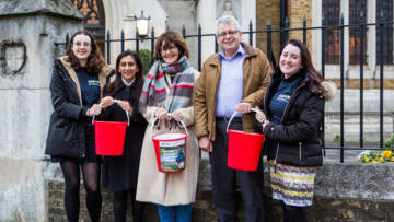 Fundraisers with buckets