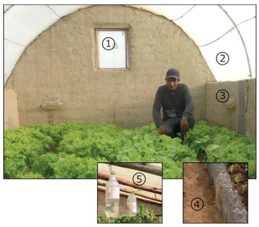 This diagram shows a Bolivian greenhouse.