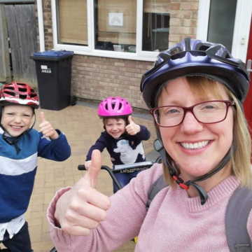 Alice and her family completed a marathon distance of 26.2 miles by walking, running, cycling, and scooting around their local town to raise funds for CAFOD.