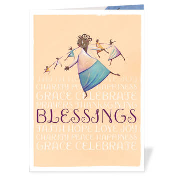 The new card has 'Blessings' on a blue background, with a World Gifts illustration