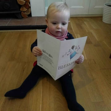 Baby reading gift card