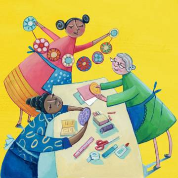 Illustration for Helping hand for older people World Gift