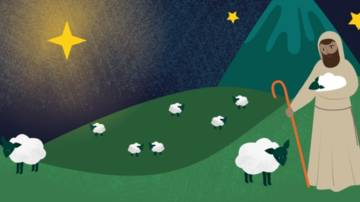 Illustrated shepherd looks over his flock as the star leads him to the stable