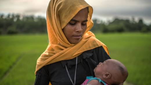 A young refugee with her baby in Bangladesh CAFOD
