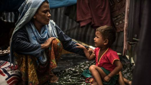 Dilda and her child are Rohingya refugees in Bangladesh
