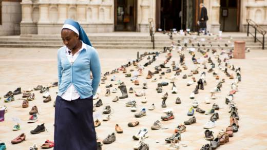Shoes Westminster Cathedral Share the Journey refugees migrants