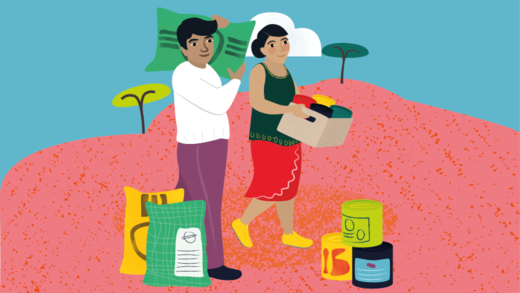 An illustration showing two people carrying emergency food supplies