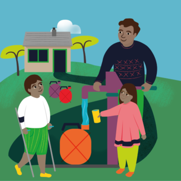 Illustration of a family gathered around a water pump