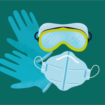 Illustration of PPE - goggles, a facemask and gloves