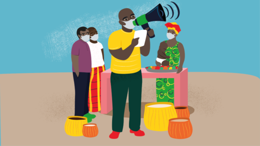 Illustration of a man speaking through a loudspeaker in a marketplace. He is wearing a facemask as are all the people who are listening to him.