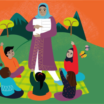 Illustration of a woman showing a book to a group of children