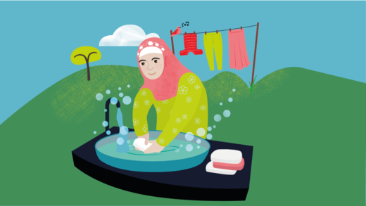 Illustration showing a woman washing her hands with soap and water