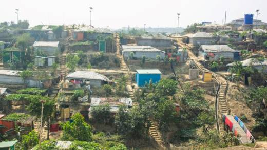 Shelters in a refugee camp in Bangladesh