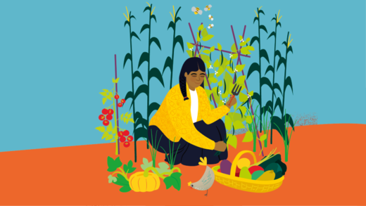 Illustration of a woman working in a garden surrounded by plentiful fruit and vegetables