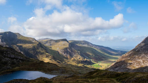 View of a small lake and hills in Snowdonia, Wales