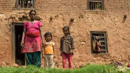 Kemala with her children in Nepal
