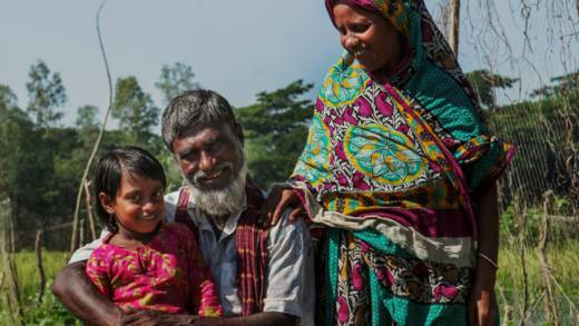 Tayab Ali with his wife and daughter in Bangladesh