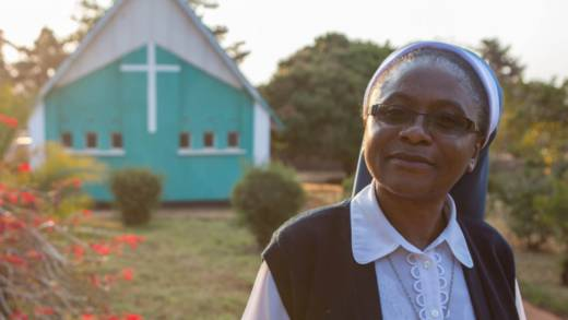 Sister Yvonne outside her church in Zambia
