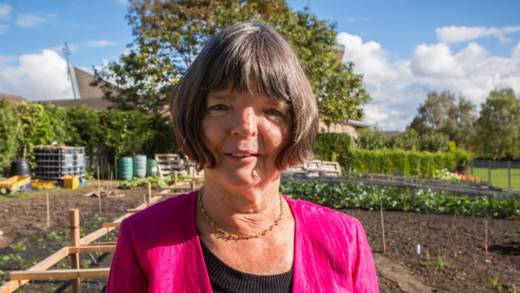 Trish with her allotment in Leeds diocese