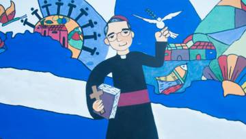 A colourful folk artwork of Blessed Oscar Romero