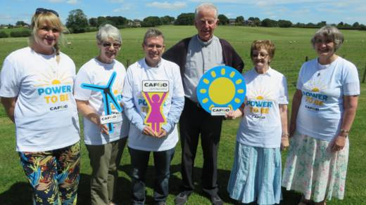 A group of CAFOD supporters wearing Power to Be tshirts to show their support for CAFOD's campaign