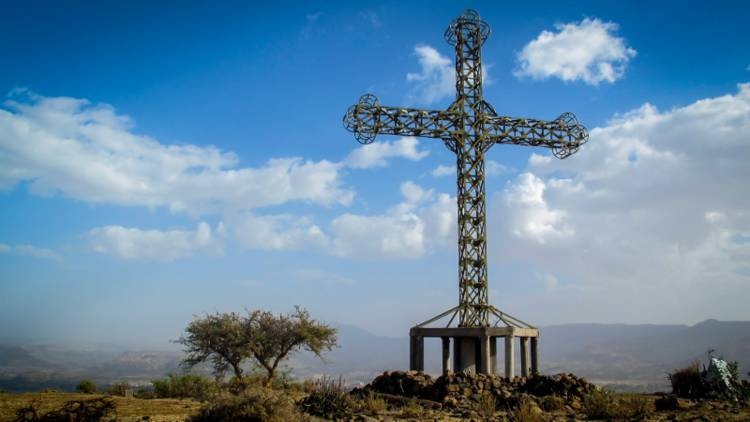 An enormous cross in the countryside in Ethiopia