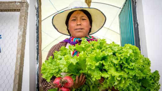 Maria stands outside her greenhouse holding a big bunch of lettuce