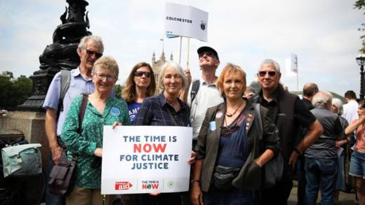 CAFOD supporters campaign at Westminster for climate justice.
