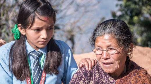13-year-old Nirjala with her grandmother in Nepal.