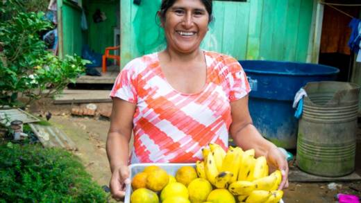 Welcoming visitors with an abundance of homegrown fruit in Bolivia.