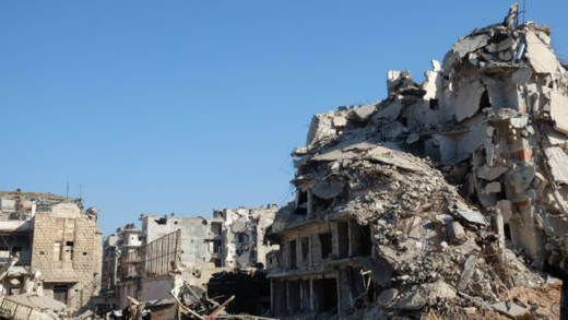 The fighting in Ghouta is some of the worst in Syria since much of East Aleppo (photographed) was destroyed.