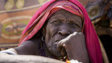 80 year old Teso is from Marsabit, Kenya, where a severe drought has caused a hunger crisis.