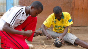 Making a football in Kenya