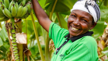 Tabitha from Kenya growing banana trees
