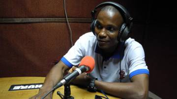 Philip McKay, leader of BOCAP (Bong County Awareness Programme) taking part in a county broadcast radio discussion on HIV/AIDS.
